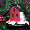 Rock City Birdhouse with Snowman Glass Ornament
